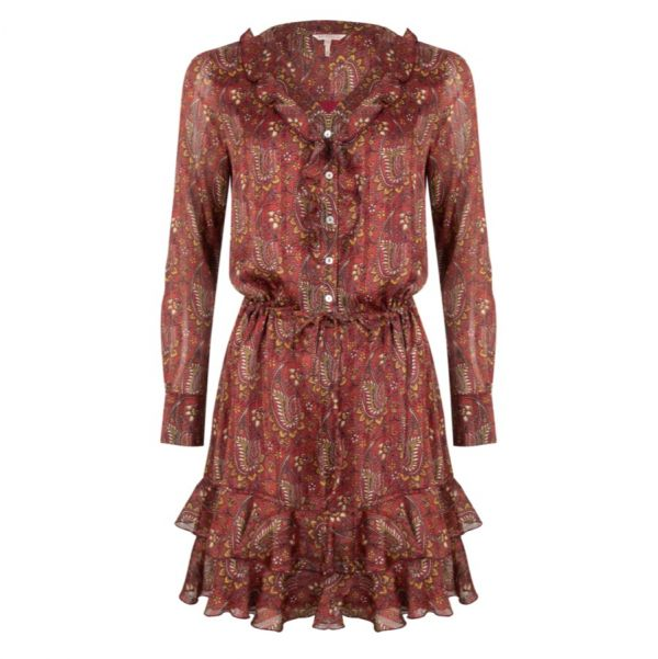 Dress ruffle paisley print