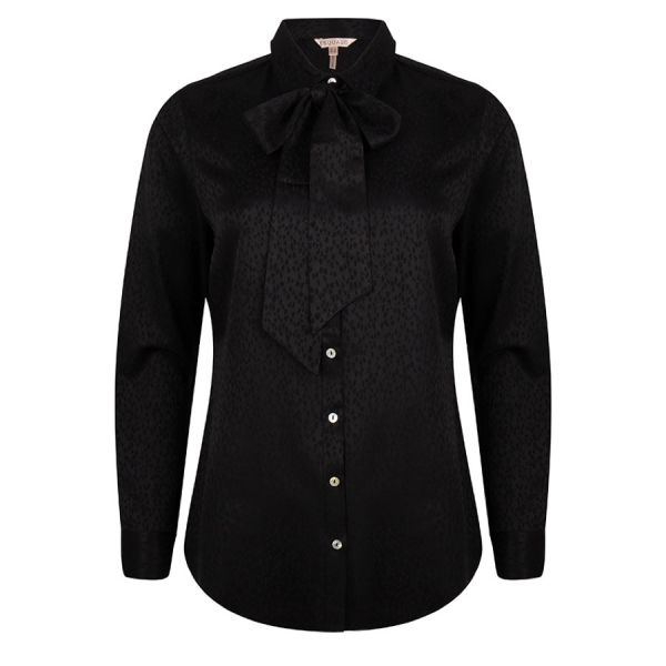 Blouse bow solid jacquard