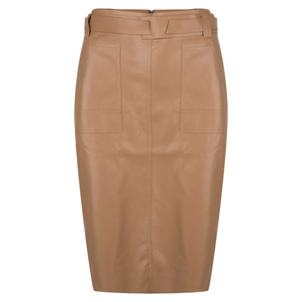 Skirt PU patched pockets