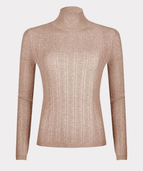 Sweater pointelle cable